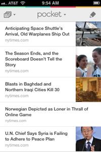 The Pocket Reading List on iOS