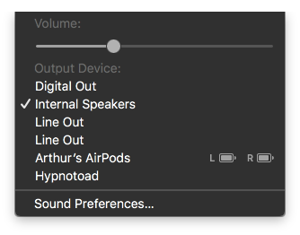 Listening on an iPhone, the AirPods appear on the Mac in the audio menu with battery status for each earphone